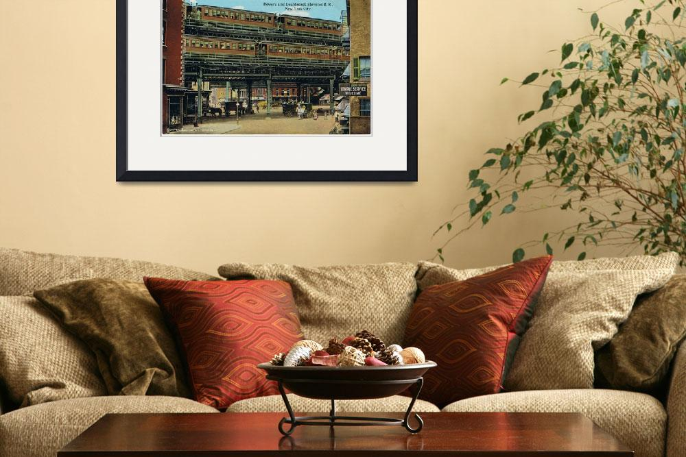 """""""Bowery NYC Double Decker Elevated Train""""  by Alleycatshirts"""
