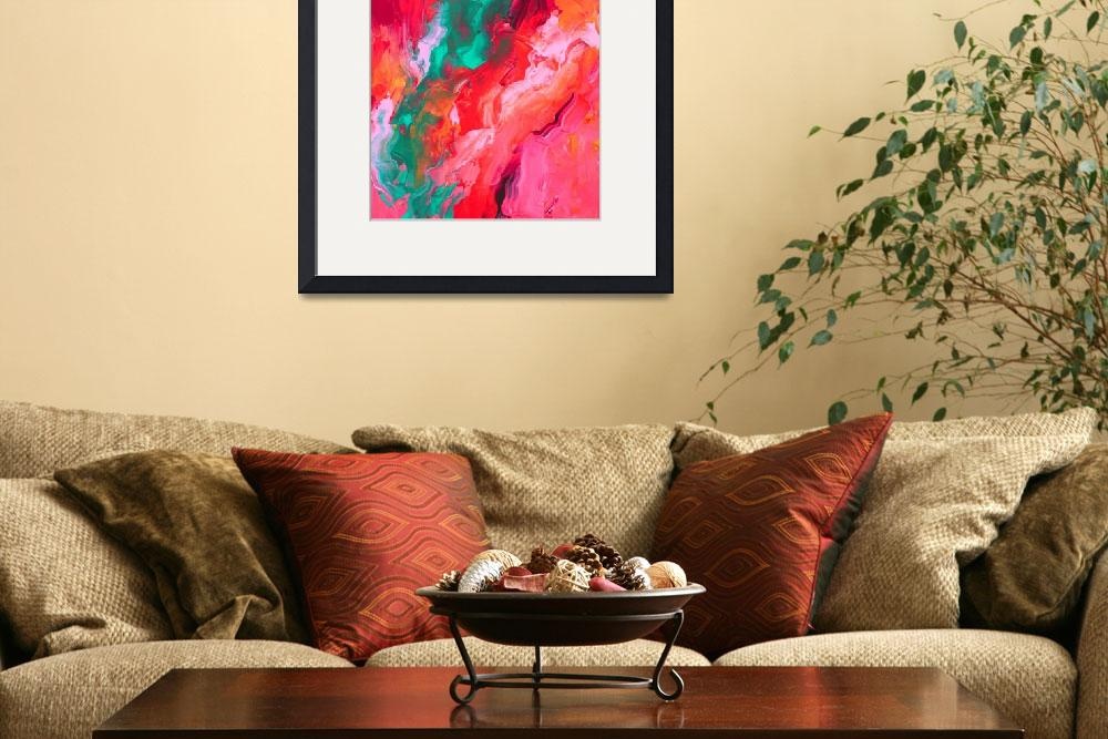 """""""Hot Pink andTeal Palette Knife Painting&quot  (2014) by LizMoran"""