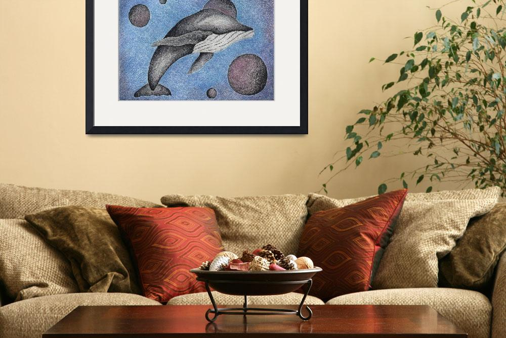 """""""Pen & Ink Illustration """"Whale With Moons"""" By Doug&quot  (2011) by drawingwithdots"""