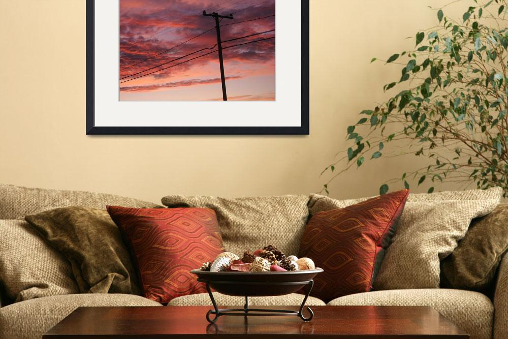 """""""Sunset Clouds with Telephone Pole&quot  (2009) by checkman"""