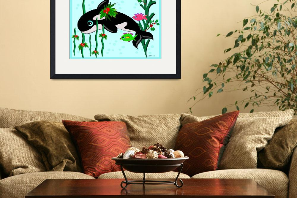 """""""Christmas Orca with Fish Friends&quot  (2011) by theblueplanet"""