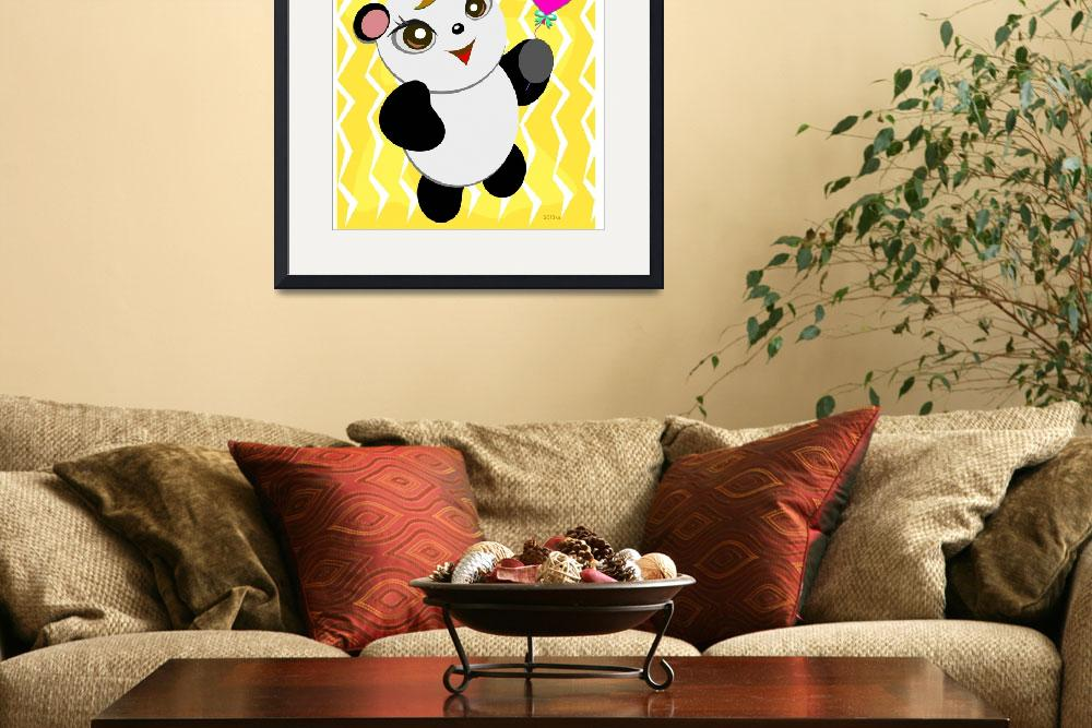 """""""Cute Panda with a Heart Balloon""""  (1994) by theblueplanet"""