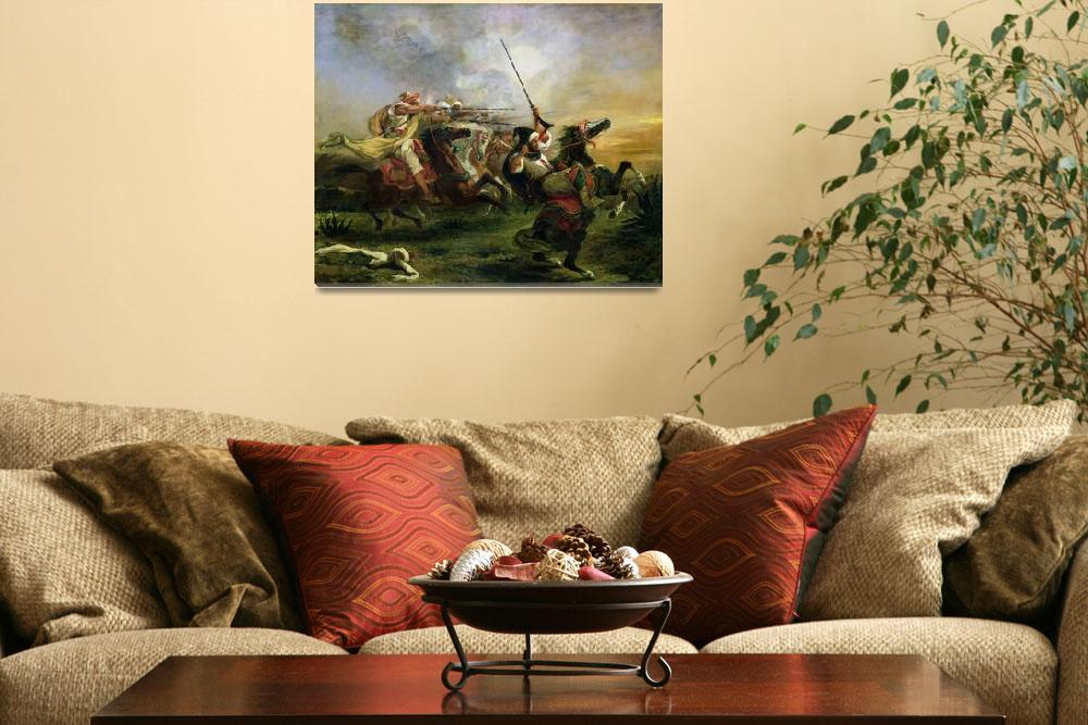 """""""Moroccan horsemen in military action by Delacroix""""  by fineartmasters"""