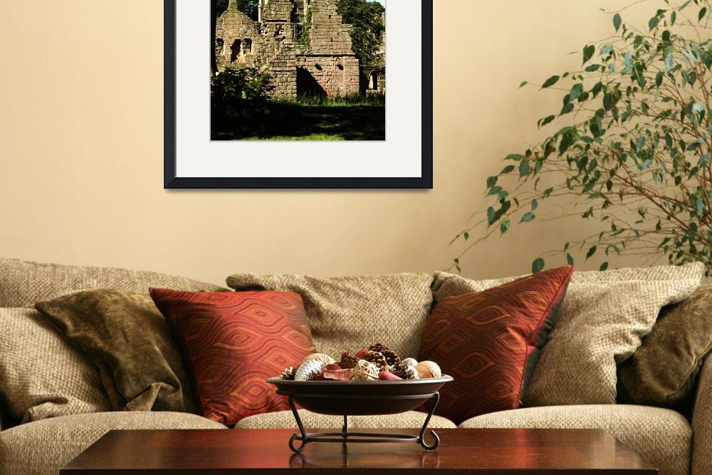 """""""Fountains Abbey in Summer 9&quot  (1990) by PriscillaTurner"""