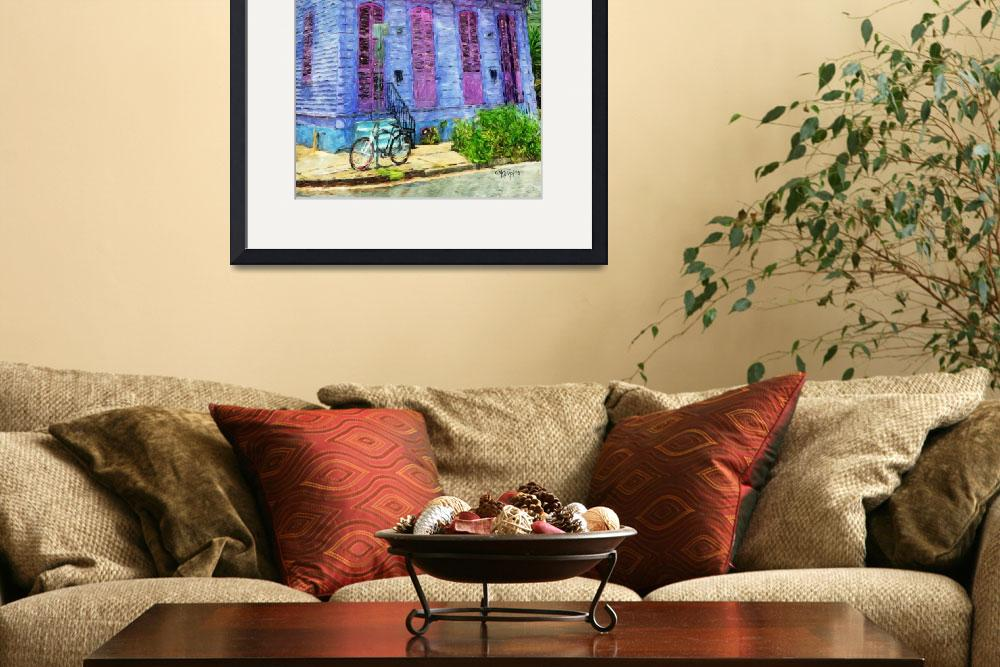 """""""New Orleans Lavender Cottage with Bicycle Comic Im&quot  (2016) by RebeccaKorpita"""
