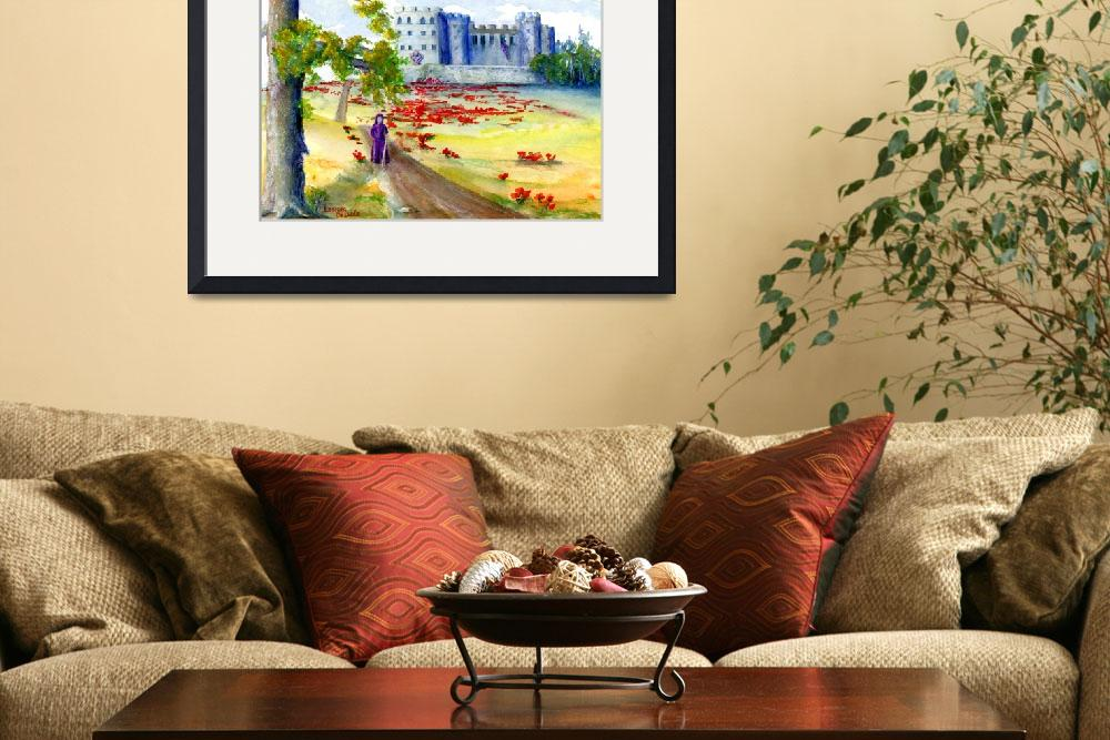 """""""Castle Landscape with Figure and Tree&quot  (2004) by Lenora"""