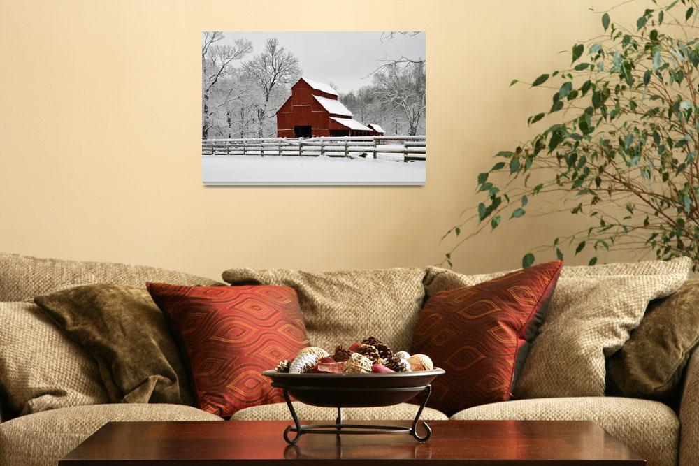 """Red Barn in Snow&quot  (2009) by LynnRoebuck"