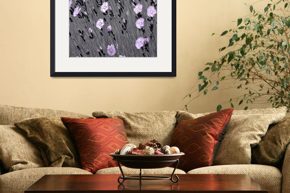 """""""Pink Flowers With Gray Background&quot  (2013) by swagmaven"""