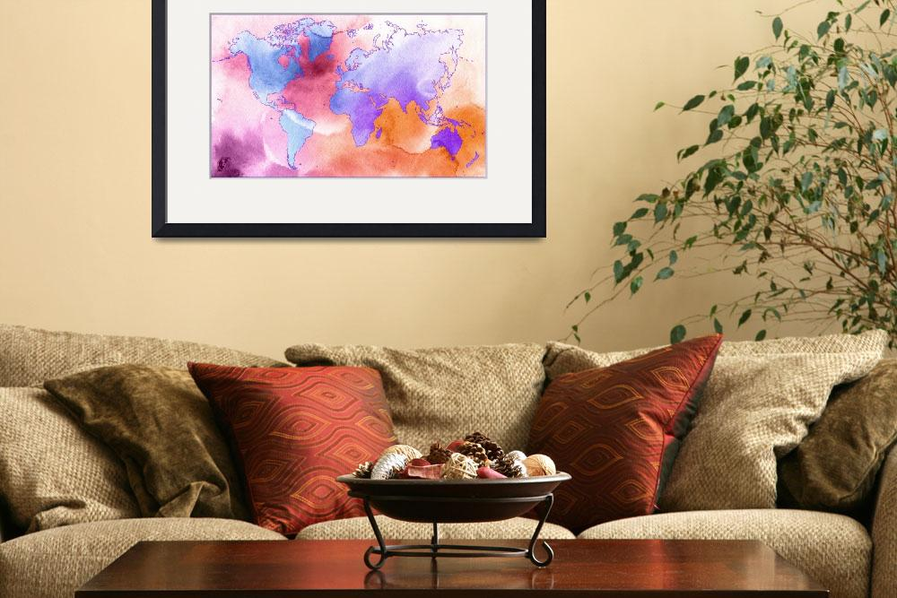 """""""Word World Map Water color""""  (2012) by D77TheDigArtisT"""