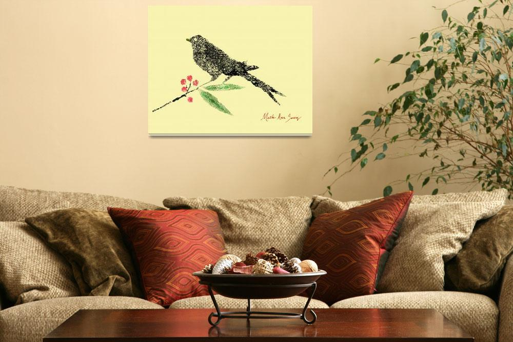 """""""Decorative Black Bird and Red Berries on Yellow R""""  (2015) by MasArtStudio"""