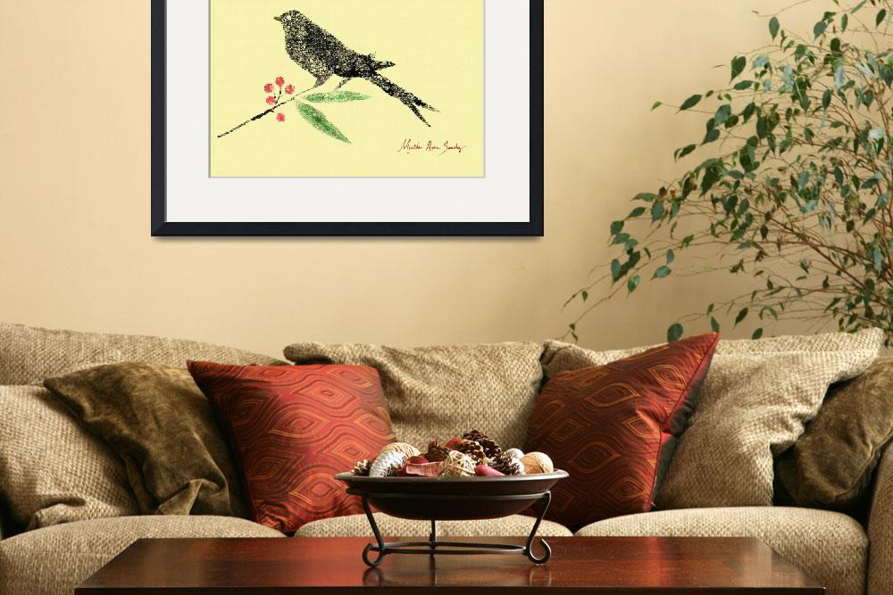 """Decorative Black Bird and Red Berries on Yellow R""  (2015) by MasArtStudio"