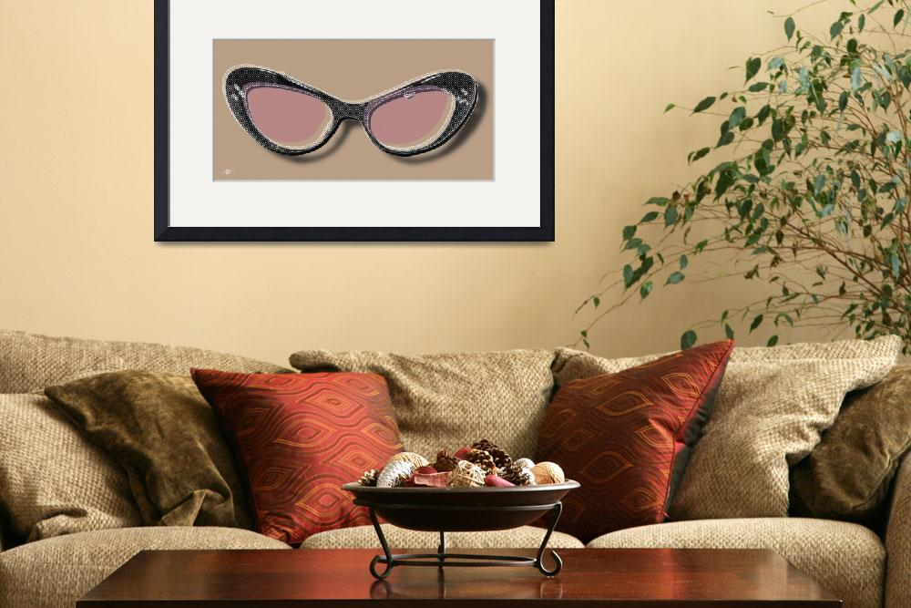 """""""Retro Glasses Funky Pop Pink Rose Brown""""  by RubinoFineArt"""