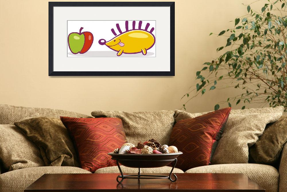 """""""hedgehog with apple&quot  (2010) by cartoonfactory"""