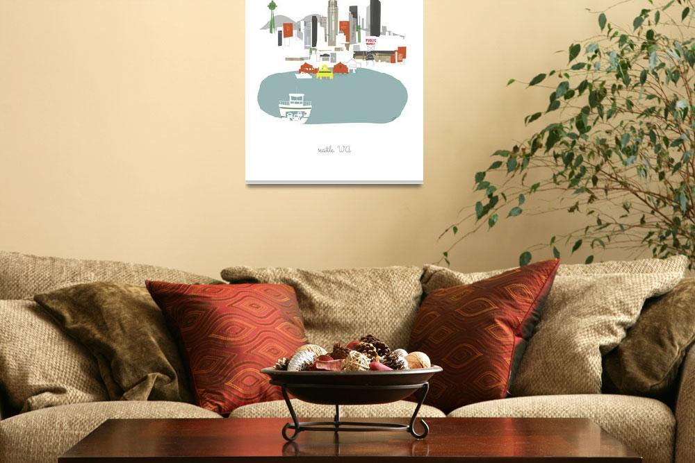 """""""Seattle Modern Cityscape Illustration&quot  by AlbieDesigns"""