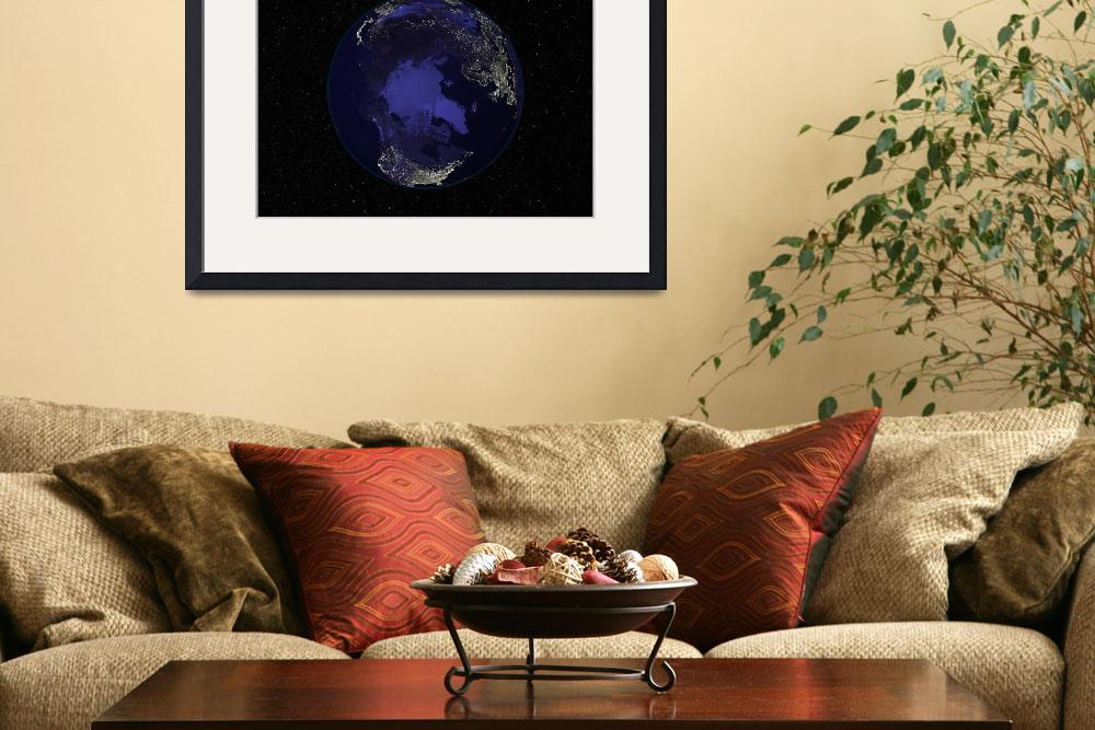 """""""Fully dark city lights image of Earth centered on""""  by stocktrekimages"""