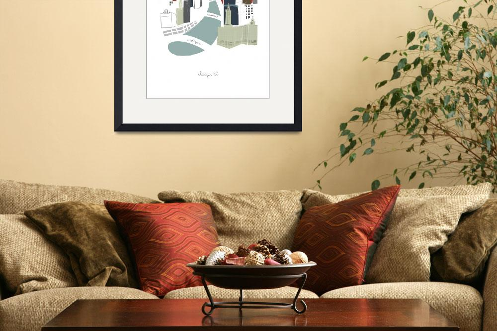 """""""Chicago Modern Cityscape Illustration""""  by AlbieDesigns"""