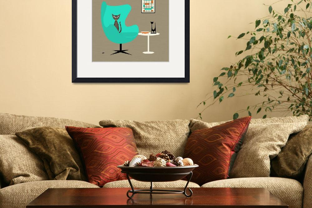 """""""Mid Century Modern Tabby Cat in Aqua Chair&quot  (2015) by DMibus"""
