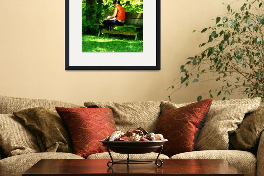 """Girl Reading in Park&quot  by susansartgallery"