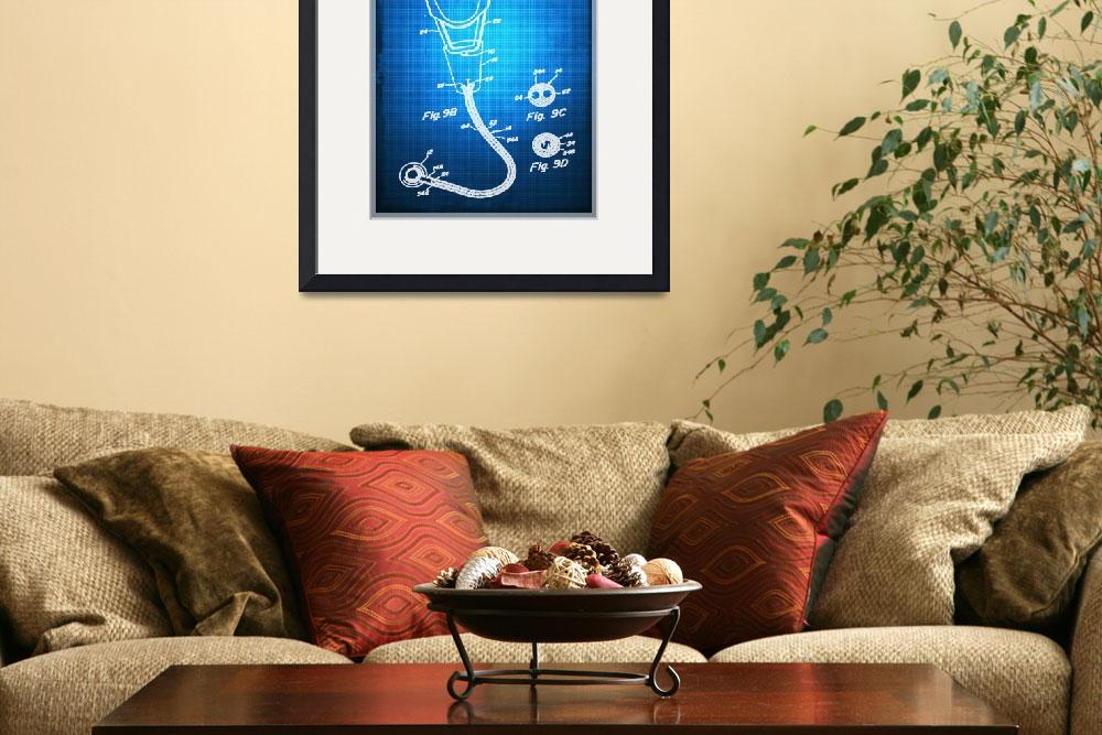 """""""Doctor Stethoscope 2 Patent Blueprint Drawing Sepi""""  by RubinoFineArt"""
