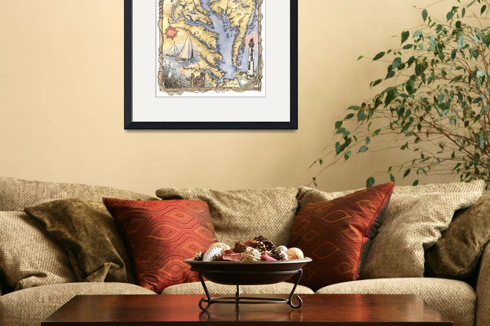 """Illustrated Chesapeake Bay Map&quot  (2012) by Sharon_himes"