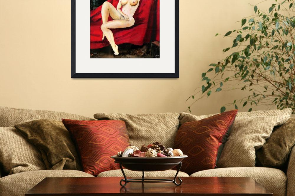 """""""FINE ART FEMALE NUDE SEATED ON RED DRAPERY&quot  by grl"""