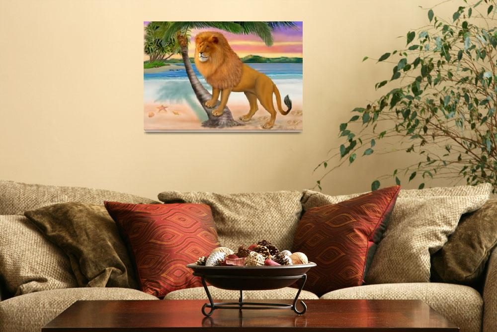 """LION ON BEACH""  (2013) by HolbrookArt"