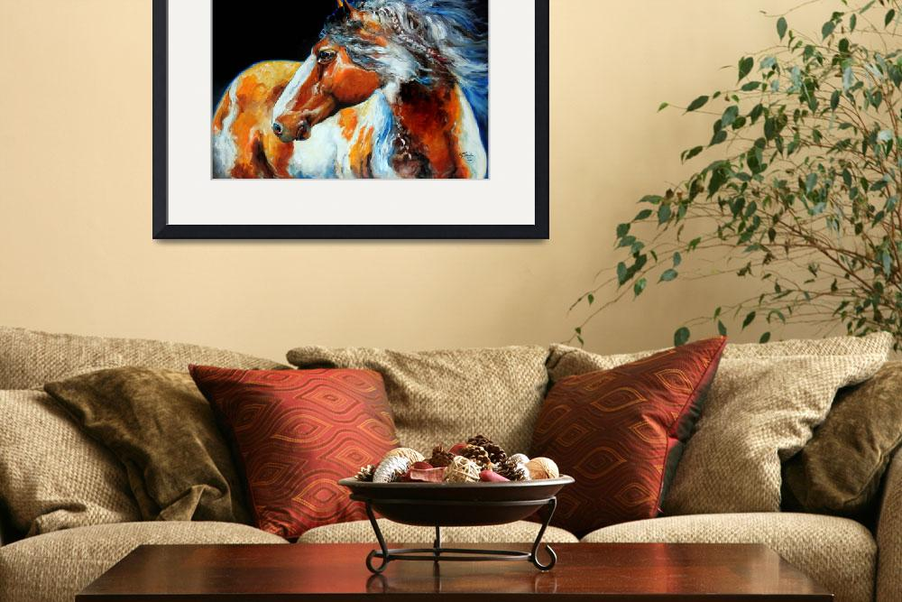 """""""MOHICAN INDIAN WAR HORSE&quot  (2013) by MBaldwinFineArt2006"""