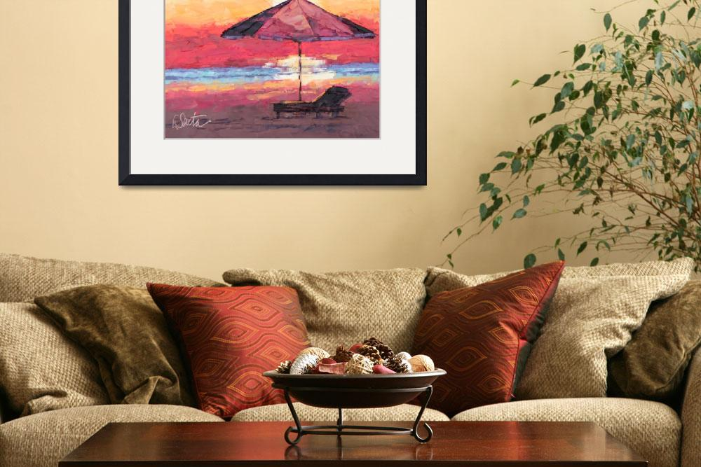 """Sunset on the Beach&quot  (2010) by LeslieSaetaFineArt"