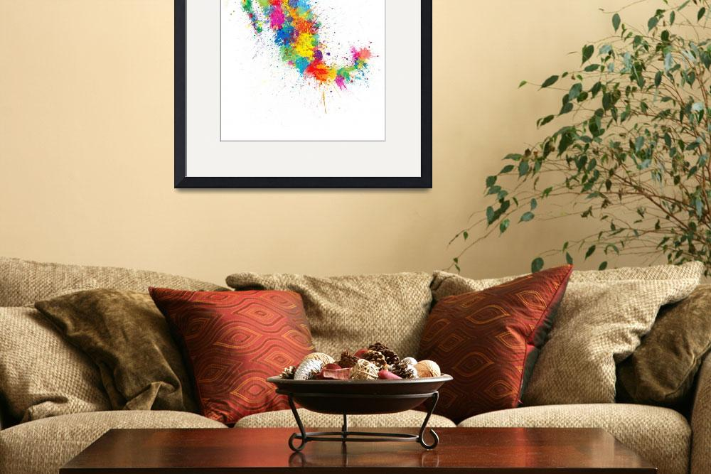 """Mexico Paint Splashes Map&quot  (2018) by ModernArtPrints"