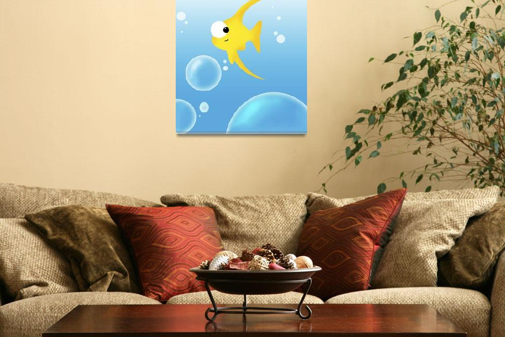 """""""Illustration Of Fish And Bubbles""""  by DesignPics"""