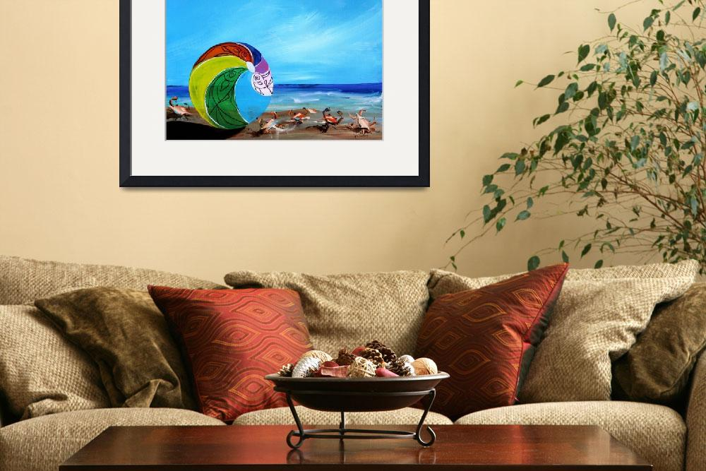 """Beach Scene with Beach Ball and Crabs&quot  (2014) by scarpace"