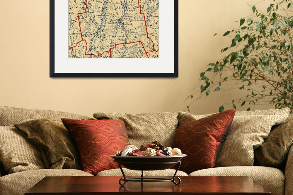 """""""Vintage Map of Hartford County CT (1846)""""  by Alleycatshirts"""
