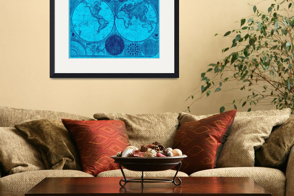"""World Map (1794) Light Blue & Blue""  by Alleycatshirts"