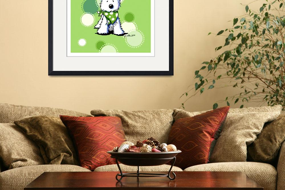 """""""Westie On Dotted Green&quot  (2009) by KiniArt"""