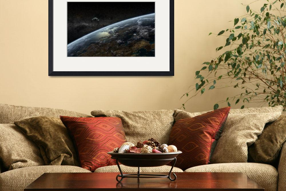"""""""A space station orbits a hypothetical planet&quot  by stocktrekimages"""