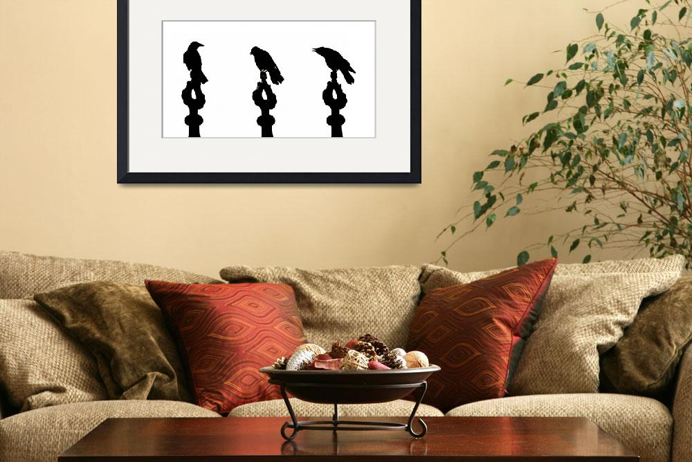 """""""Crow silhouettes showing different phases of""""  (2008) by sebnemkoken"""