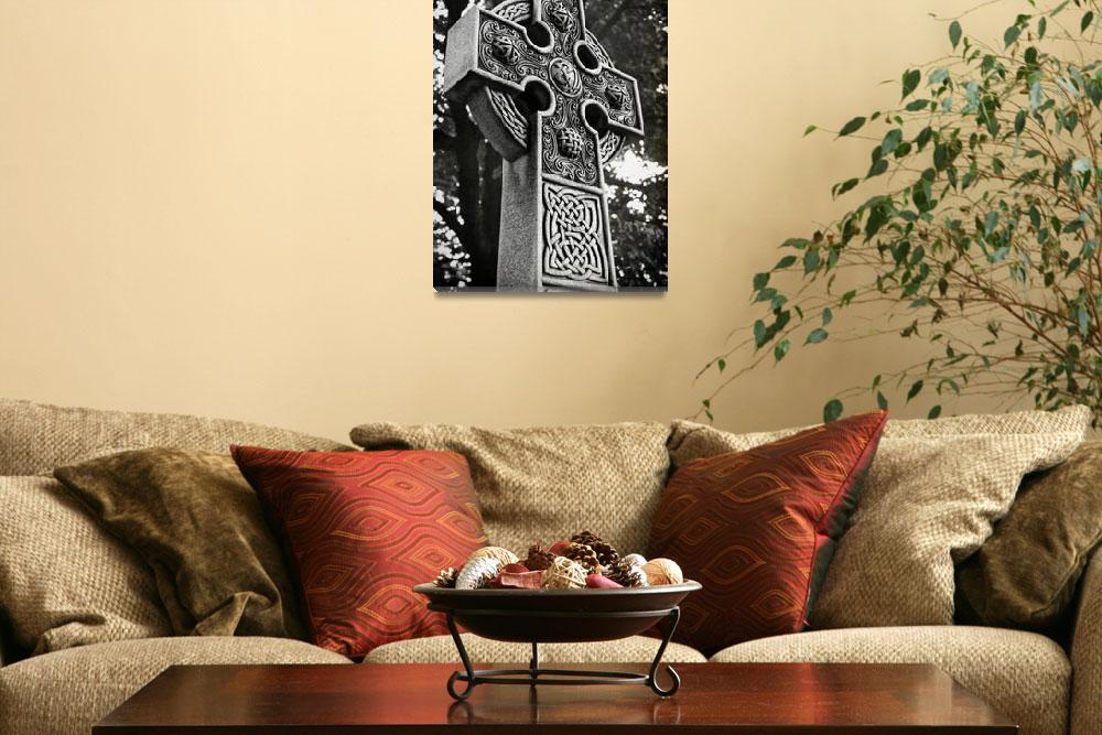 """""""Celtic Cross in Black and White&quot  (2011) by jimcrotty"""