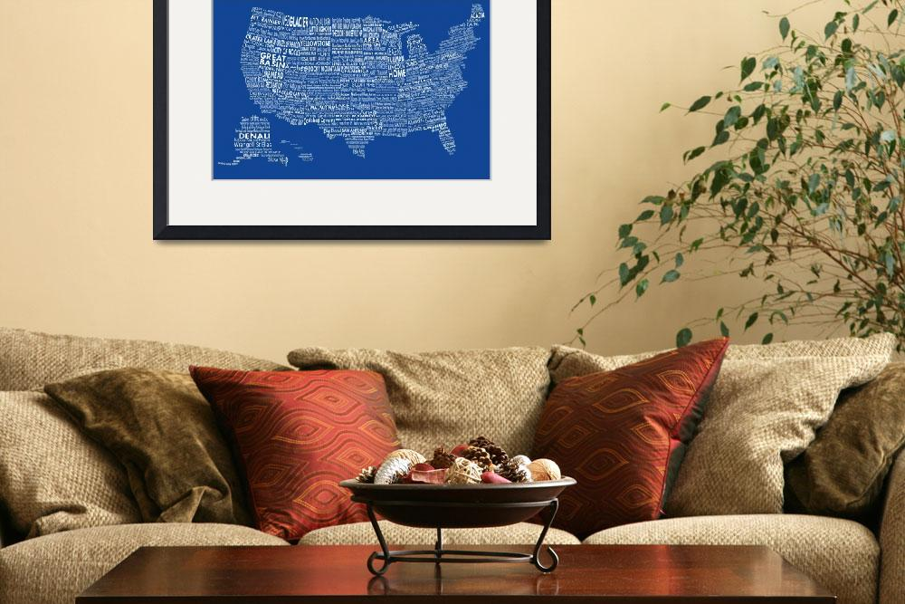 """United States National Parks Typography Map&quot  by Alleycatshirts"