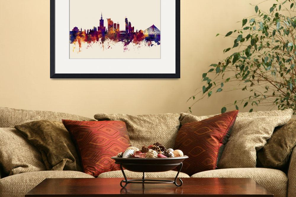 """Warsaw Poland Skyline""  (2016) by ModernArtPrints"