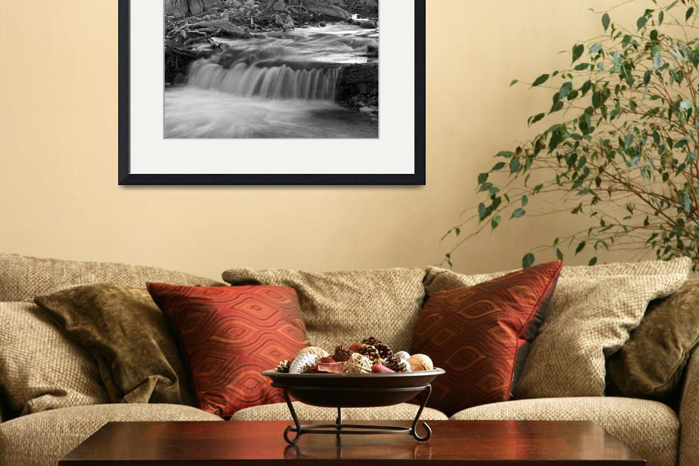 """""""Creek Flowing 3: Black and White&quot  (2008) by PaulHuchton"""