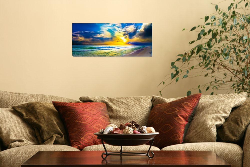"""beach sunset panorama yellow sunset sky art prints""  (2014) by eszra"