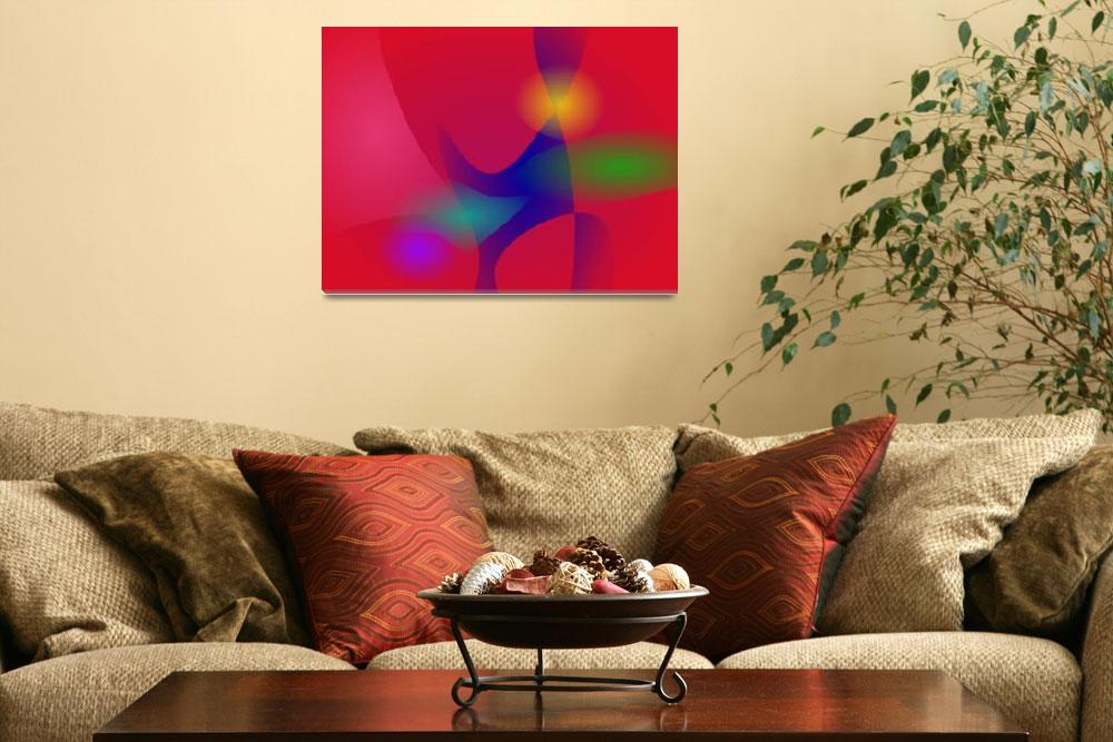 """""""Dark Red Abstract Art&quot  (2014) by masabo"""