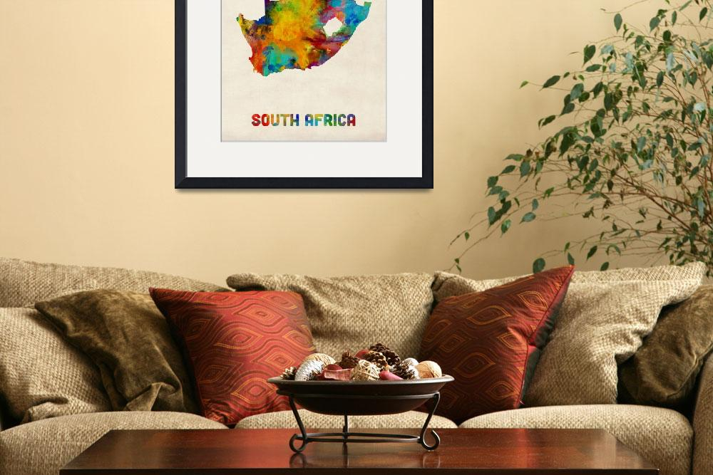 """South Africa Watercolor Map&quot  (2016) by ModernArtPrints"