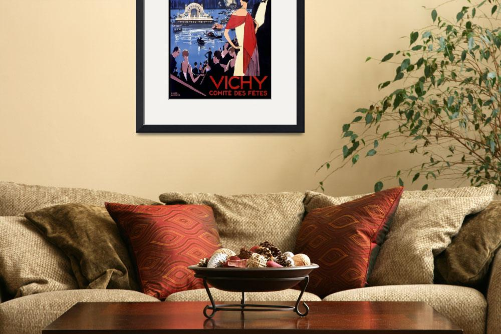 """""""Vichy Vintage Travel Poster""""  by FineArtClassics"""