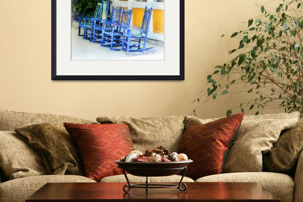 """""""Row of Blue Rocking Chairs&quot  (2008) by susansartgallery"""