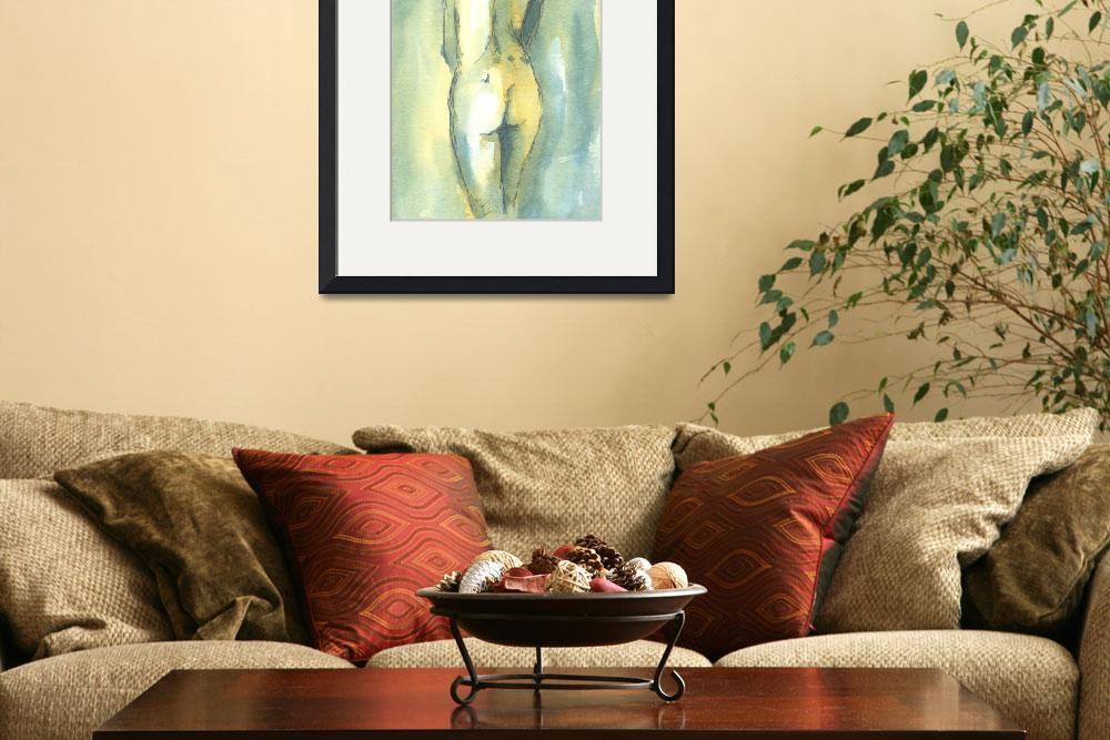 """""""Teal and Yellow Female Nude Study&quot  (2008) by tolunart"""