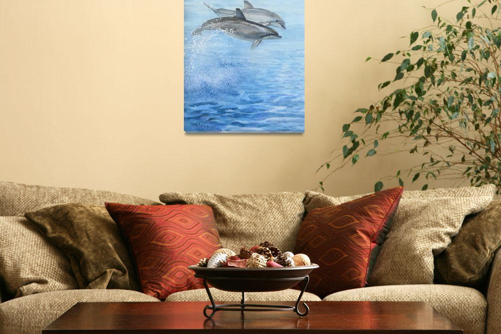 """""""playful dolphins&quot  (2005) by LisaMclaughlin"""