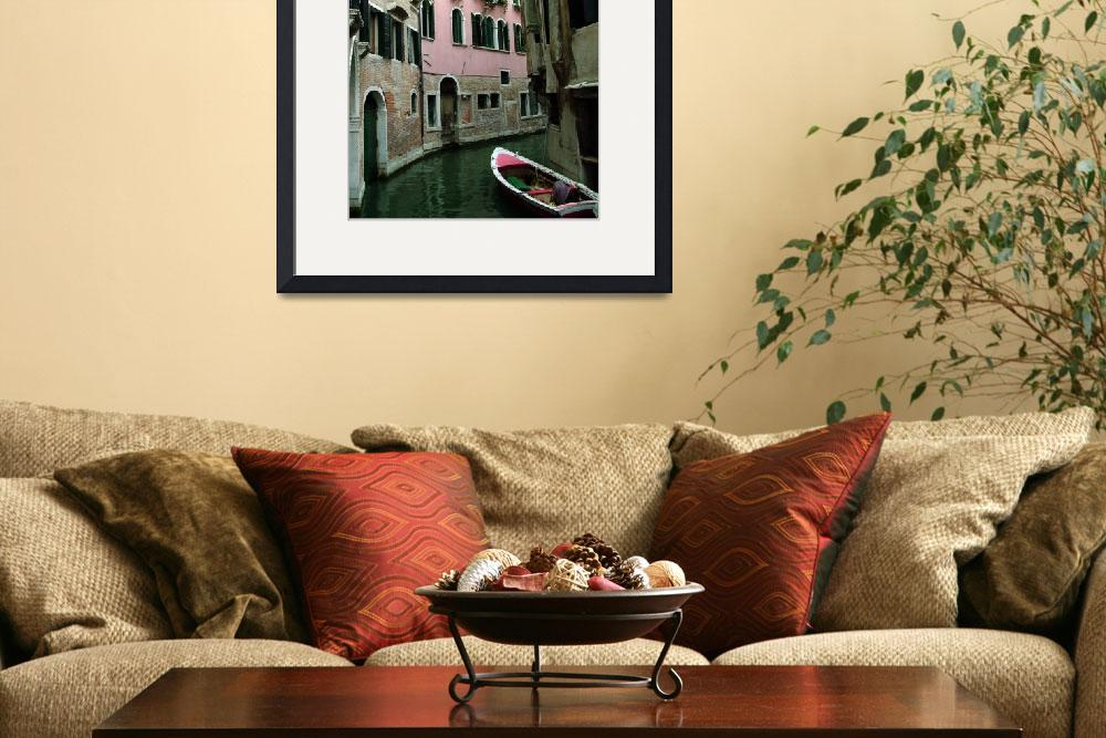 """""""Pink House on Curved Canal&quot  by DonnaCorless"""