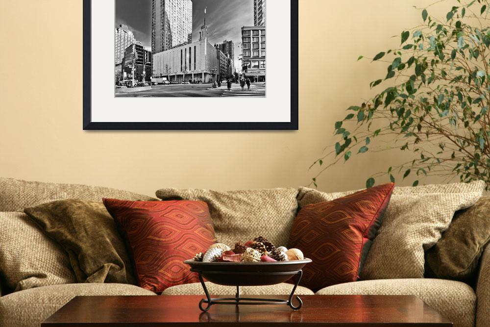 """""""Manhattan Temple Black and White&quot  (2012) by dbwalton"""