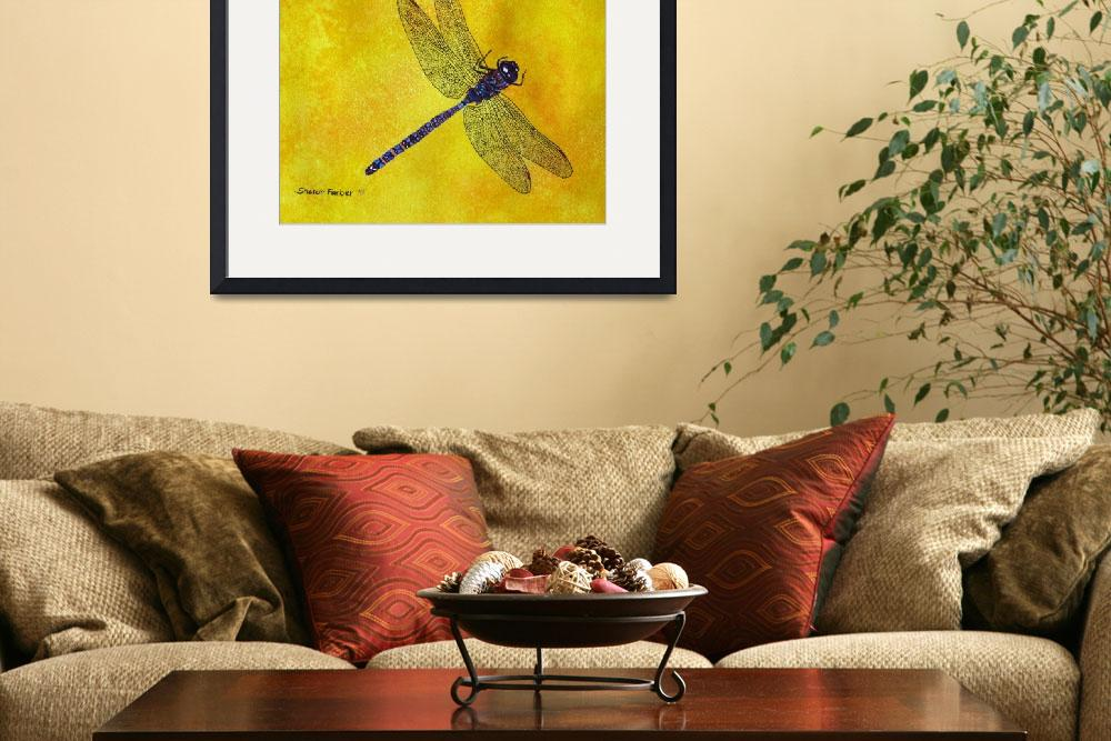 """""""Blue and Purple Dragonfly on Yellow&quot  (2011) by PaintedPathWatercolors"""